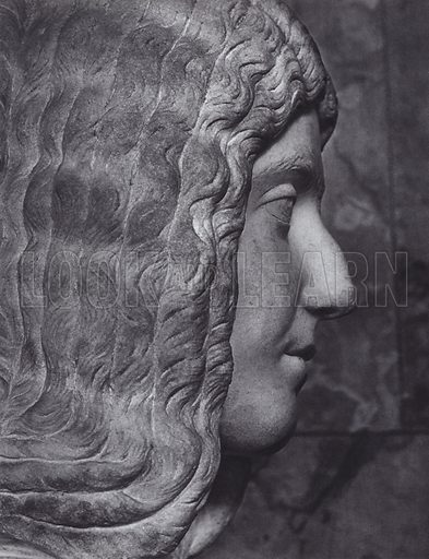 Julia Domna, Wife of Septimius Severus, About 200 AD, Munich, Glyptothek. Illustration for Roman Portraits edited by Ludwig Goldscheider (Phaidon Edition, Oxford University Press, New York, 1940). Gravure printed.