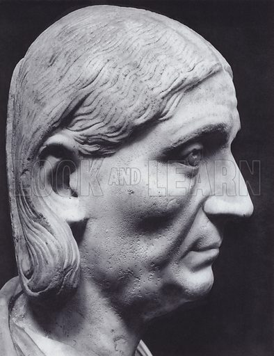 Female Portrait, Third Century AD, Rome, Palazzo Capitolino. Illustration for Roman Portraits edited by Ludwig Goldscheider (Phaidon Edition, Oxford University Press, New York, 1940). Gravure printed.
