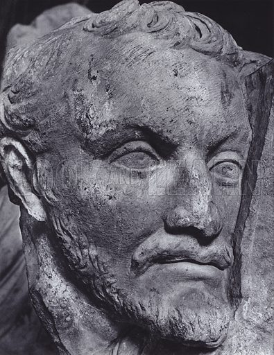 Fragment of a Relief, Third Century AD, Rome, Museo Lateranense Profano. Illustration for Roman Portraits edited by Ludwig Goldscheider (Phaidon Edition, Oxford University Press, New York, 1940). Gravure printed.