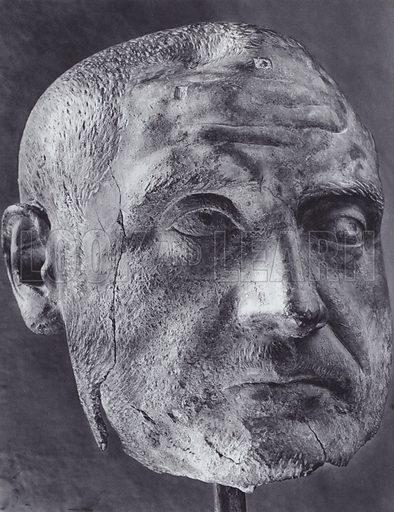 Trebonianus Gallus, 251-253 AD, Terracotta, Florence, Museo Archeologico. Illustration for Roman Portraits edited by Ludwig Goldscheider (Phaidon Edition, Oxford University Press, New York, 1940). Gravure printed.