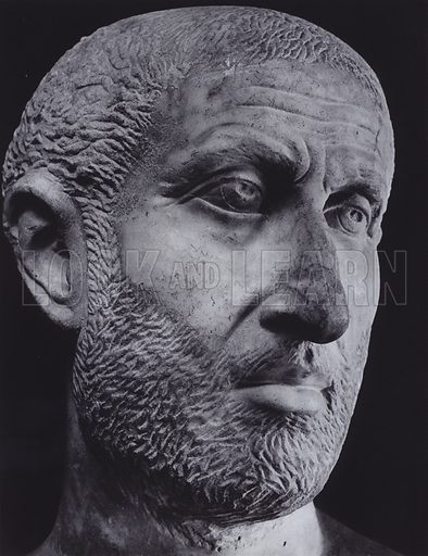 Portrait of a Tragic Poet, Third Century AD, Rome, Palazzo Capitolino. Illustration for Roman Portraits edited by Ludwig Goldscheider (Phaidon Edition, Oxford University Press, New York, 1940). Gravure printed.