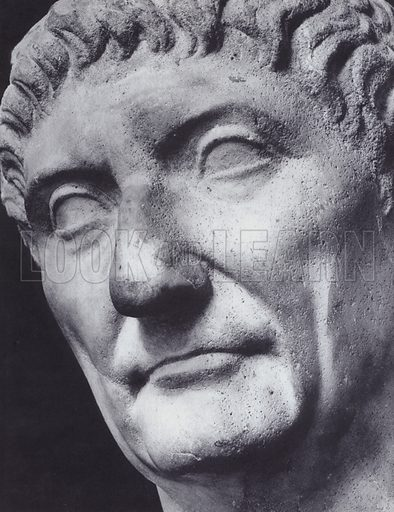 Male Portrait, Diocletianus, About 300 AD, Rome, Palazzo Capitolino. Illustration for Roman Portraits edited by Ludwig Goldscheider (Phaidon Edition, Oxford University Press, New York, 1940). Gravure printed.