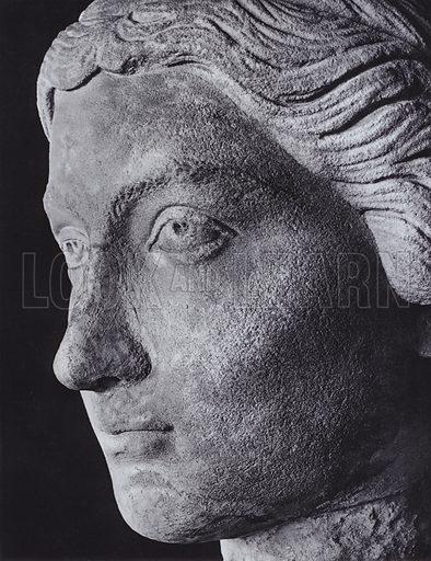 Woman's Head, Third Century AD, Paris, Louvre. Illustration for Roman Portraits edited by Ludwig Goldscheider (Phaidon Edition, Oxford University Press, New York, 1940). Gravure printed.