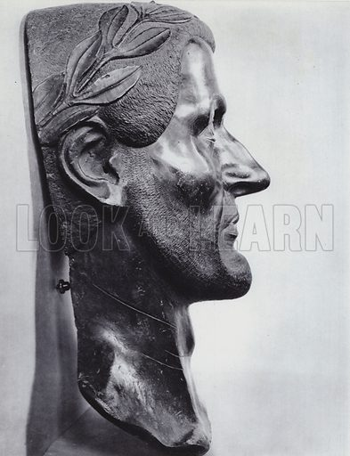 Constantius Chlorus, Bronze, About 300 AD, Munich, Glyptothek. Illustration for Roman Portraits edited by Ludwig Goldscheider (Phaidon Edition, Oxford University Press, New York, 1940). Gravure printed.