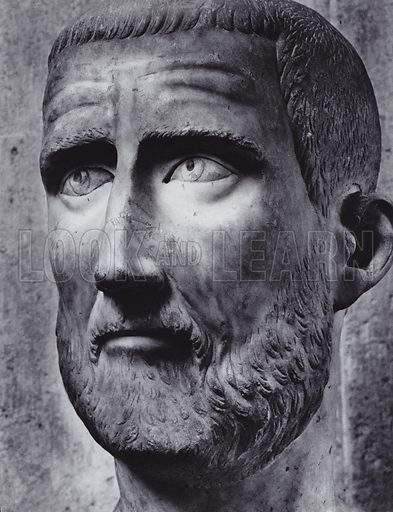 Male Portrait, Fourth Century AD, Rome, Palazzo Capitolino. Illustration for Roman Portraits edited by Ludwig Goldscheider (Phaidon Edition, Oxford University Press, New York, 1940). Gravure printed.