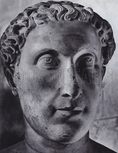 Male Portrait, Fourth Century AD, Munich, Glyptothek. Illustration for Roman Portraits edited by Ludwig Goldscheider (Phaidon Edition, Oxford University Press, New York, 1940). Gravure printed.
