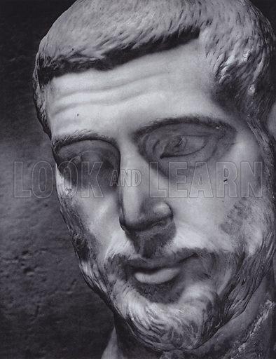 Male Portrait, Fourth Century AD, Rome, Palazzo Dei Conservatori. Illustration for Roman Portraits edited by Ludwig Goldscheider (Phaidon Edition, Oxford University Press, New York, 1940). Gravure printed.