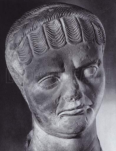 Female Portrait, About 450 AD, Rome, Museo Nazionale. Illustration for Roman Portraits edited by Ludwig Goldscheider (Phaidon Edition, Oxford University Press, New York, 1940). Gravure printed.