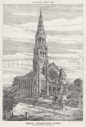 Anerley Congregational Church. Illustration for The Architect, 5 February 1876.