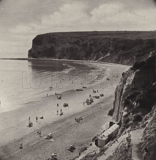 Whitecliff Bay. Illustration for The Isle of Wight, A Book of Photographs by S W Colyer (Ward Lock, c 1940).