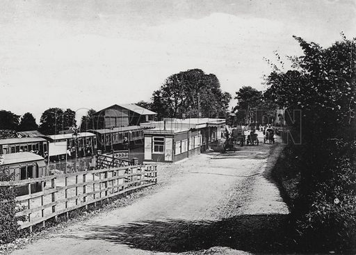 Lyme Regis Station. Illustration for Grand View Album, Lyme Regis and Neighbourhood (W C Darby, c 1895).  Photographs by Valentine & Sons.  Gravure printed.