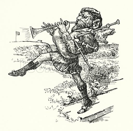 McKrab the Caddie. Illustration for Butterscotia or A Cheap Trip to Fairy Land by His Honour Judge Edward Abbott Parry illustrated by Archie Macgregor (David Nutt, 1896).