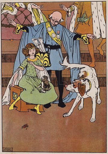 The Leeping Match. The Frog leaps into the Lap of the Princess. Illustration for Hans Andersen