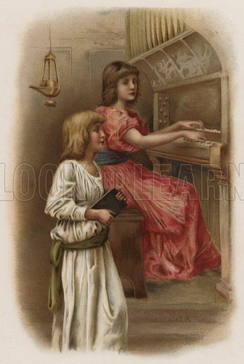 Morning Hymn. Illustration for Holy Gladness, Words by Edward Oxenford (Griffith Farran Okeden and Welsh, c 1890).