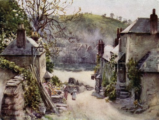 Bodinnick Ferry, Fowey. Illustration for Cornwall, painted by G F Nicholls, described by G E Mitton (A&C Black, c 1925).