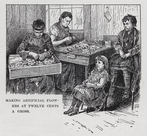 """Making Artificial Flowers at Twelve Cents a Gross. Illustration for Darkness and Daylight, or Lights and Shadows of New York Life by Mrs Helen Campbell ( A D Worthington & Co, 1893).  With engravings from """"photographs taken from life"""" """"mostly by flash-light, and reproduced in exact fac-simile by eminent artists""""."""