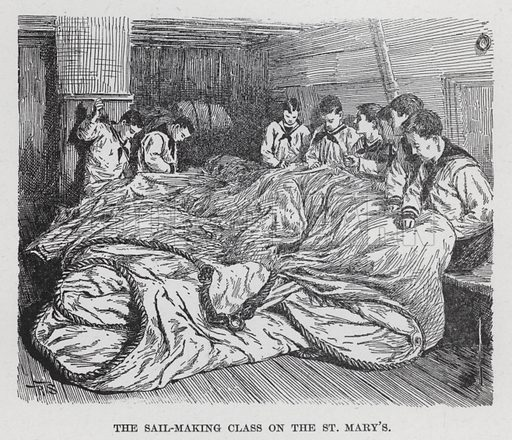 """The Sail-Making Class on the St Mary's. Illustration for Darkness and Daylight, or Lights and Shadows of New York Life by Mrs Helen Campbell ( A D Worthington & Co, 1893).  With engravings from """"photographs taken from life"""" """"mostly by flash-light, and reproduced in exact fac-simile by eminent artists""""."""
