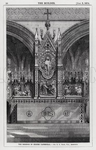The Reredos in Exeter Cathedral. Illustration for The Builder, 3 January 1874.