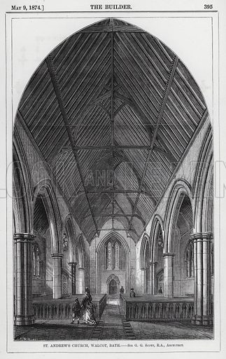 St Andrew's Church, Walcot, Bath. Illustration for The Builder, 9 May 1874.