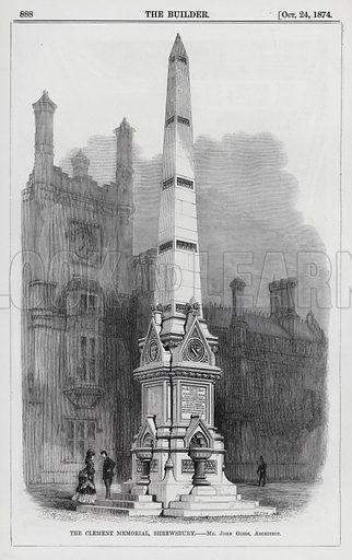 The Clement Memorial, Shrewsbury. Illustration for The Builder, 24 October 1874.