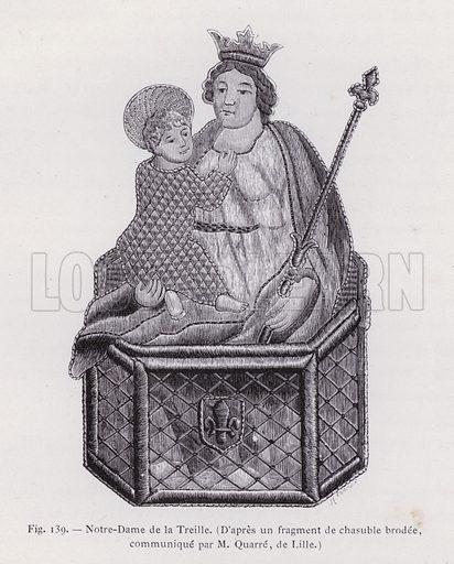 Notre-Dame de la Treille, D'apres un fragment de chasuble brodee, communique par M Quarre, de Lille. Illustration for La Sainte Vierge by U Maynard (2nd edn, Firmin-Didot, 1877).
