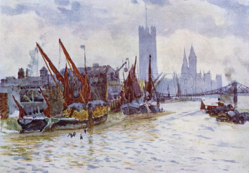 Hay Barges lying off the Horseferry at Westminster. Illustration for The Scenery of London described by G E Mitton (A&C Black, 1905).