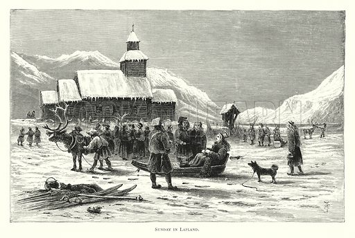 Sunday in Lapland. Illustration for Norwegian Pictures drawn with Pen and Pencil by Richard Lovett (Religious Tract Society, 1885).