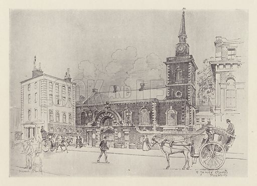 St James' Church, Piccadilly. Illustration for Picturesque Westminster edited by Walter Emden (1902).