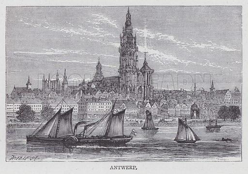 Antwerp. Illustration for unidentified railway guide, c 1880.