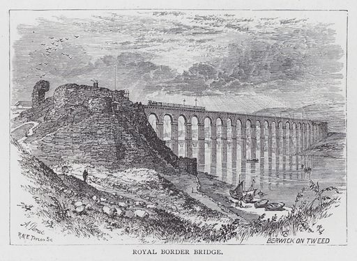 Royal Border Bridge. Illustration for unidentified railway guide, c 1880.