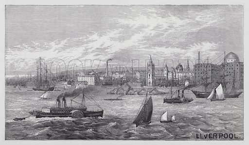 Liverpool. Illustration for unidentified railway guide, c 1880.