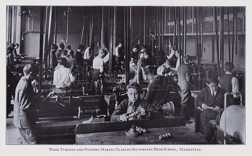 New York School Enquiry, 1911–13: Wood Turning and Pattern Making Class in Stuyvesant High School, Manhattan