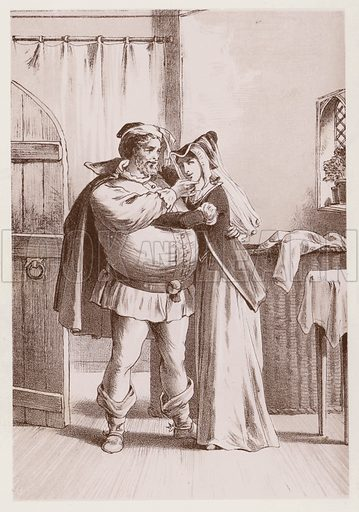 Falstaff and Mistress Ford, The Merry Wives Of Windsor. Illustration for Shakespeare's Stories Simply Told by Mary Seymour, Comedies (T Nelson, 1893).