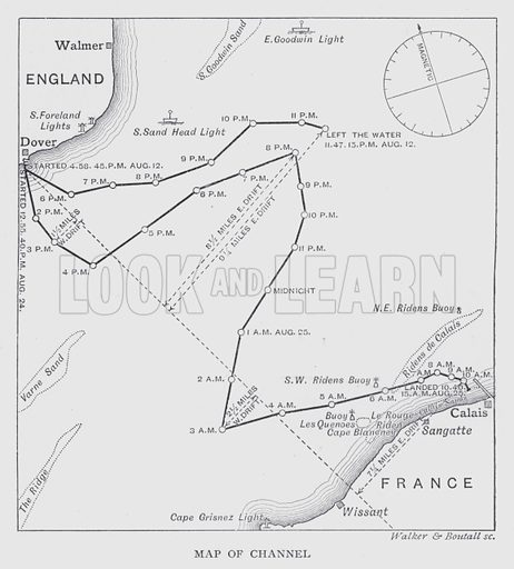 Map of Channel. Illustration for Swimming by Archibald Sinclair and William Henry (Longmans, Green, 1893).