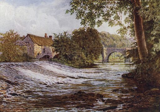 On the Derwent, Baslow. Illustration for The Peak Country painted by W Biscombe Gardner described by A R Hope Moncrieff (A&C Black, 1908).
