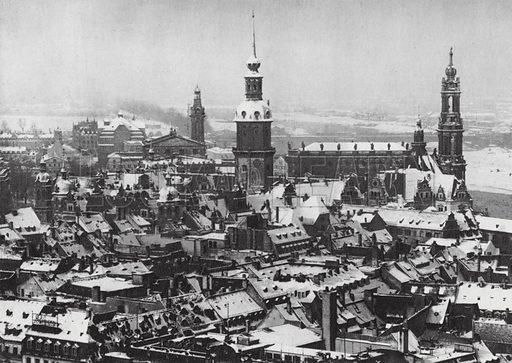 Winter at Dresden; Dresden Im Schnee. Illustration for Dresden in Bildern with photographs by Franz Fiedler (Dr Hans Epstein, 1930).  Gravure printed.