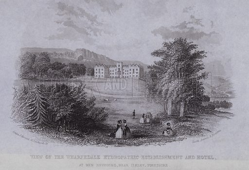 View of the Wharfedale Hydropathic Establishment and Hotel, at Ben Rhydding, near Ilkley, Yorkshire. Loose engraving.