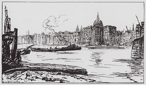 Bankside. Illustration for Changing London (Second Series) (Cassell, 1925).