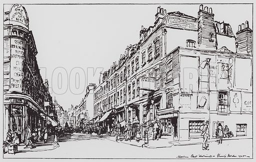 Marsham Street, Westminster. Illustration for Changing London (Second Series) (Cassell, 1925).
