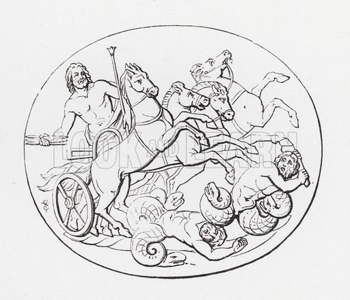 Jupiter overthrowing the Titans. Illustration for Handbook of Engraved Gems by C W King (2nd edn, George Bell, 1885).