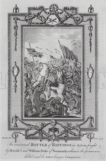 Death of King Harold II at the Battle of Hastings, Sussex, 1066. Illustration from The New, Impartial and Complete History of England by Edward Barnard (Alex Hogg, c 1790).