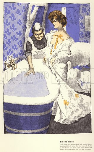 Woman reminiscing as she gets into a bath prepared for her by her maid