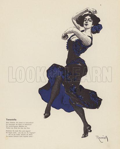 Woman dancing a tarantella