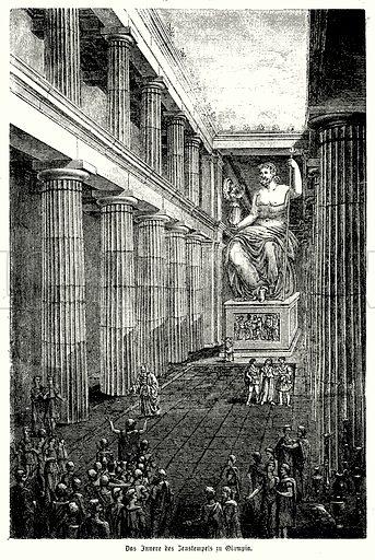 Interior of the Temple of Zeus at Olympia, ancient Greece. Illustration from Illustrierte Mythologie, Gottersagen und Kultusformen der Hellenen, Romer, Aegypter und Inder (Otto Spamer, Leipzig, 1867).