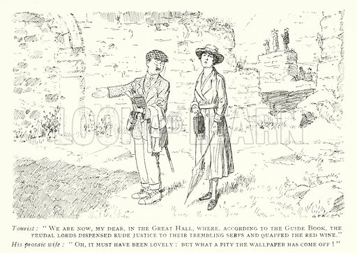 Tourist couple visiting a ruined castle. Illustration from George Morrow: His Book (Methuen & Co Ltd, London 1920).