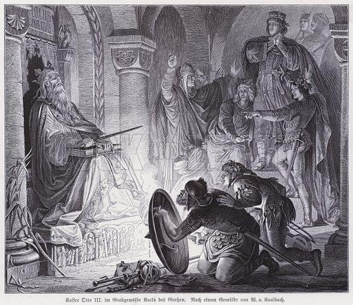 The Holy Roman Emperor Otto III in the burial vault of his predecessor Charlemagne in Aachen Cathedral. Illustration for Bildersaal Deutscher Geschichte (Union Deutsche Verlagsgesellschaft, 1890).