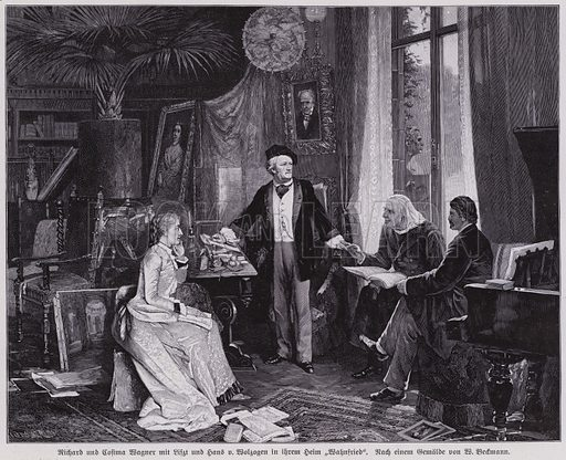 German composer Richard Wagner and his wife Cosima entertaining Franz Liszt and Hans von Wolzogen at their home, Villa …