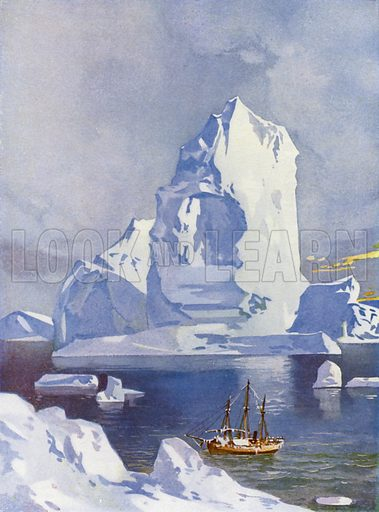 Sailing ship in front of a giant iceberg