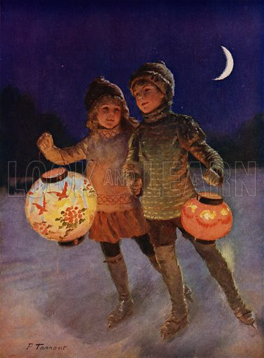 Boy and girl skating with fairy lanterns at night