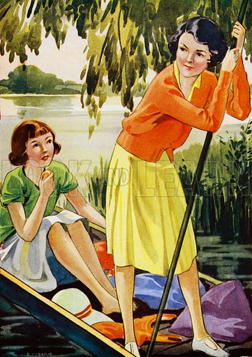 Two girls punting on a river